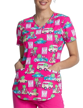 Cherokee Women's Toad Away Prints V-Neck Scrub Top