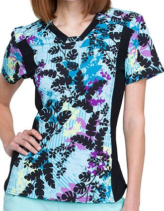 Cherokee iFlex Women's In Disb-leaf Printed Scrub Top