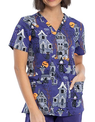 Cherokee Women's Haunted Halloween Print V-Neck Scrub Top