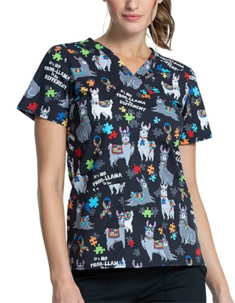 Cherokee Women's Llama Love Print V-Neck Scrub Top