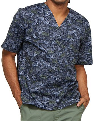 Cherokee Genuine Men's Sports Fanatic Printed V-Neck Top