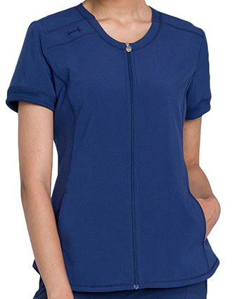 Cherokee Infinity Women's Zip Front V-Neck Top