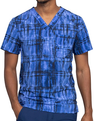 Cherokee Infinity Men's Plaid Tie Dye Printed Scrub Top