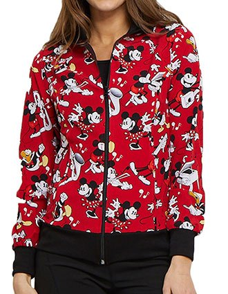 Tooniforms Women's Heritage Mickey Zip Front Warm-up Printed Jacket