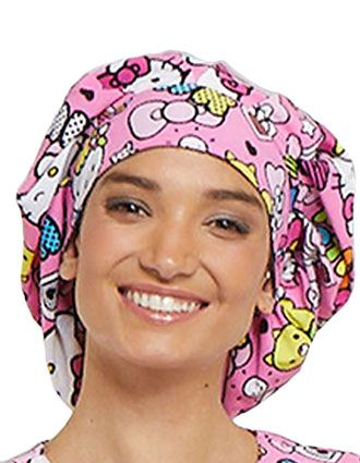 Tooniforms Unisex Color Me Hello Kitty Printed Bouffant Scrub Hat