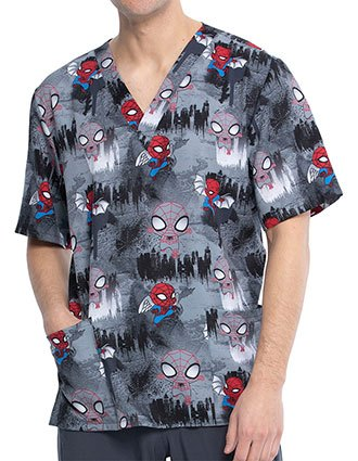 Cherokee Tooniforms Unisex Night Watch Print Top