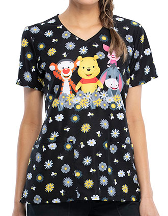 Tooniforms Women's Sunshine Pooh Print V-Neck Top