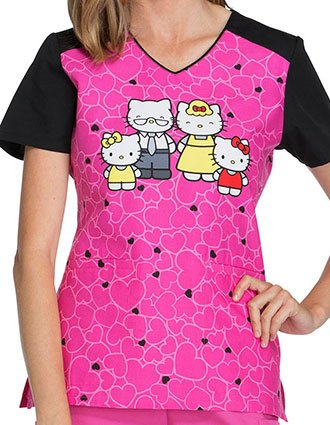 Tooniforms Women's Hello Family Print V-Neck Top
