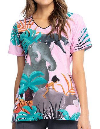 Tooniforms Women's Mowgli And Friends Print V-neck Top