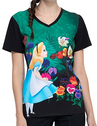 Tooniforms Women's Wonderland Alice Printed V-neck Top