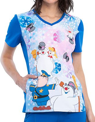Tooniforms Women's Snowland Printed V-neck Top