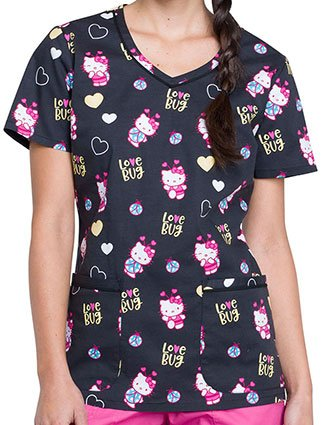 Tooniforms Women's Hello Ladybug Printed V-Neck Scrub Top