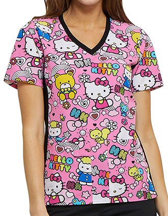 Tooniforms Women's Color Me Hello Kitty Printed V-Neck Knit Panel Top