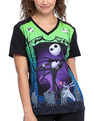 Tooniforms Women's Jack And Zero Halloween Print V-neck Top