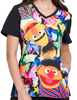 Tooniforms Women's Bert and Ernie Printed V-neck Top