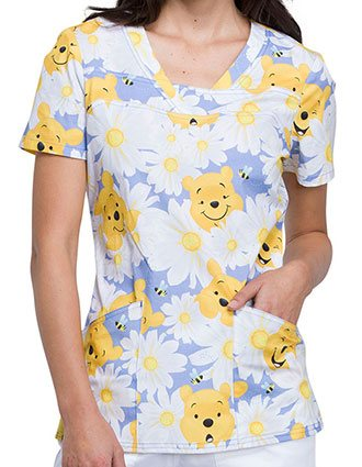 Tooniforms Women's Peek A Pooh Printed V-Neck Top
