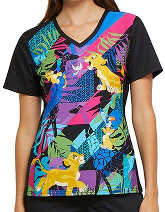 Tooniforms Disney Women's Simba's Friends V-Neck Knit Panel Top