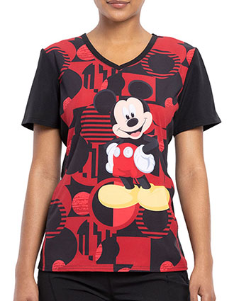 Tooniforms Women's A Mickey Future Printed V-Neck Top