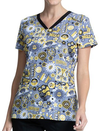 Cherokee Tooniforms Women's Bello Minion Print V-Neck Top
