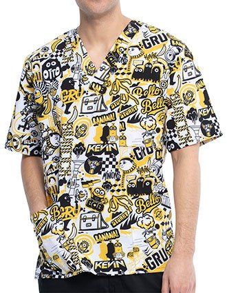 Tooniform Unisex Iconic Mayhem Print V-Neck Scrub Top