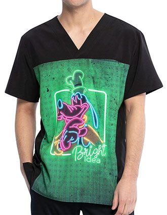 Tooniforms Men's Goofy Neon Print V-Neck Top