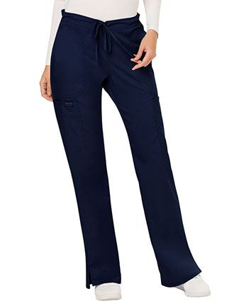 Cherokee Workwear Revolution Womens Mid Rise Moderate Flare Drawstring Pant