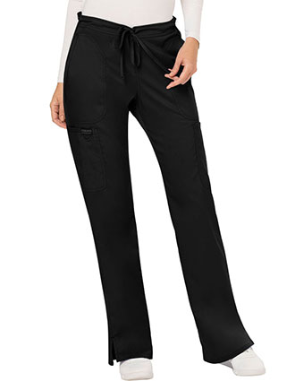 Cherokee Workwear Revolution Womens Mid Rise Moderate Flare Drawstring Petite Pant