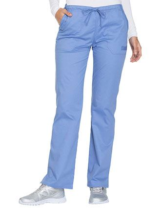 Cherokee Workwear Core Stretch Women's Mid Rise Straight Leg Drawstring Pant