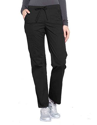 Cherokee Workwear Professionals Women's Drawstring Mid Rise Straight Leg Petite Pant