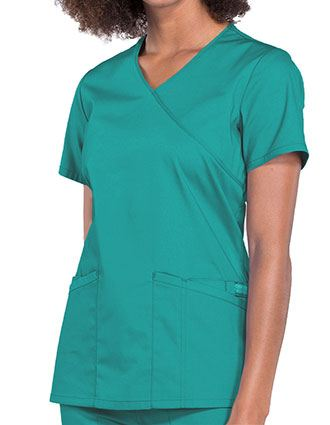 Cherokee Workwear Professionals Women's Mock Wrap Top