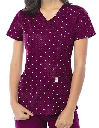 Code Happy Lotsa Dots Women's Mock Wrap Top