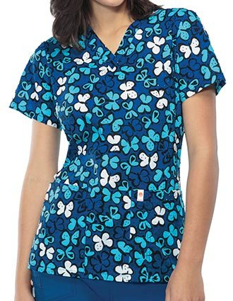 Code Happy Blue Streak Women's Butterfly Kisses V-Neck Top
