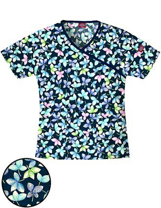 Dickies EDS Junior Mock Wrap Water's Edge Print Scrub Top