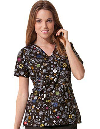 Dickies GenFlex Junior Mock Wrap Don't Push My Buttons Scrub Top