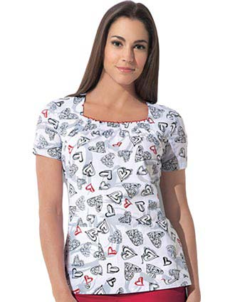 Dickies Gen Flex Junior Fit Can't Heartly Wait Scrub Top