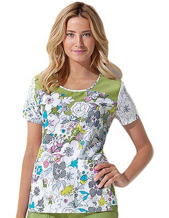 Dickies GenFlex Junior Garden Whimsy Round Neck Scrub Top