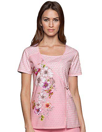 Dickies Junior Mock Wrap Fairytale Garden Print Nursing Scrub Top