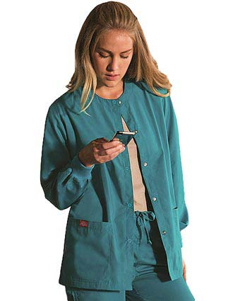 Dickies EDS Missy Round Neck Snap Front Scrub Jacket