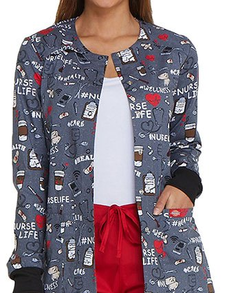 Dickies Women's Nurse Life Snap Front Printed Jacket