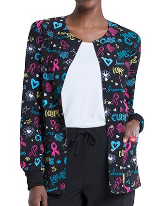 Dickies Love Cure Hope Prints Snap Front Warm-Up Jacket For Women's