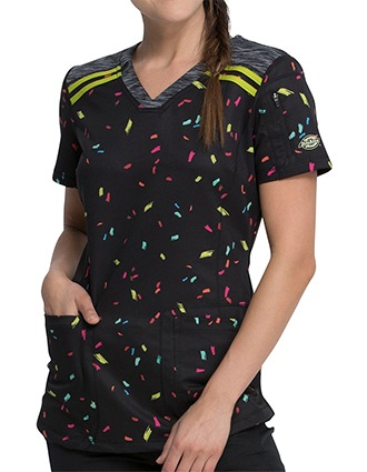 Dickies Women's Rainbow Party Print V-Neck Top