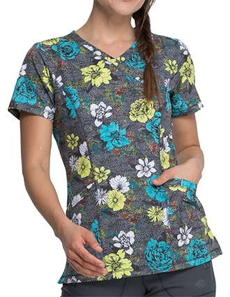 Dickies Women's Blooms So Bright Print Mock Wrap Top