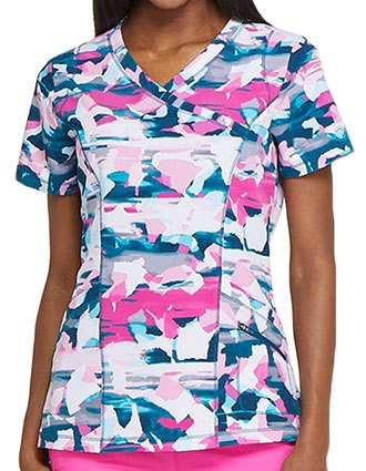Dickies Women's Crazy For Camo Printed Mock Wrap Top