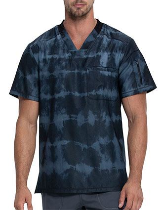 Dickies Men's Tie Dye Stripes Navy Print V-Neck Top