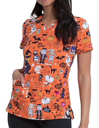 Dickies Women's Stay Spooky Halloween Print V-neck Scrub Top