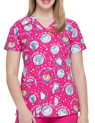 Dickies Women's See Me Rollin' Prints V-Neck Top