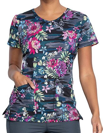 Dickies Tropical Camo-tion Print V-Neck Top For Women's
