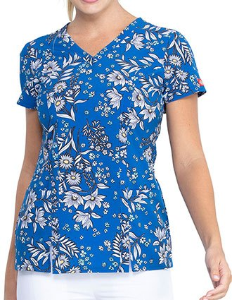 Dickies Bright Like A Daisy Prints V-Neck Top For Women's
