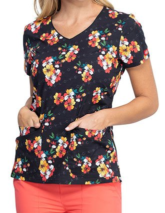 Dickies Caring Clusters Print V-Neck Top For Women's