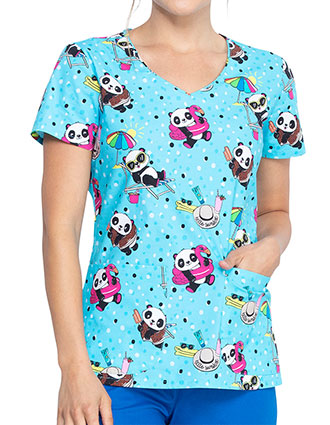 Dickies Women's Hello Sunshine Panda Print V-Neck Top